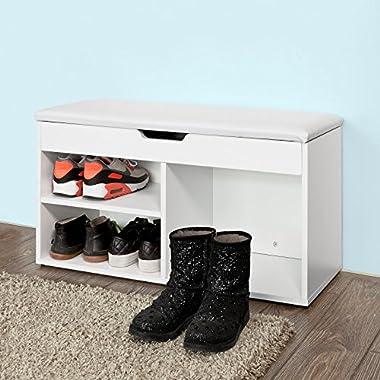 Haotian White Shoe Cabinet, Shoe Rack, Shoe Storage Bench with Folding Padded Seat, FSR27-W