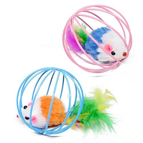 NaiCasy 2pcs Juguetes para Mascotas Gato Divertido Juego Teal Falso Bola Rata Ratón Juguete del ratón en una Jaula - Color Mezclado, Fuentes del Gato