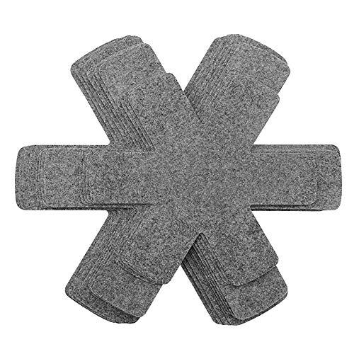 YChoice365 12 protectores acolchados de fieltro para cacerolas, protegen las superficies de tus utensilios de cocina para evitar arañazos y separadores para proteger y separar ollas y sartenes.