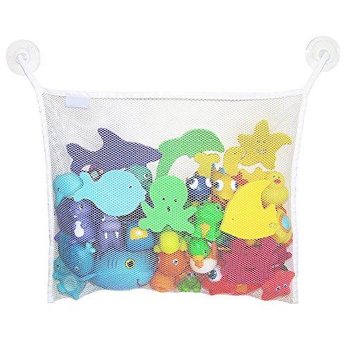 Bluelans Grande bébé jouet de bain Organiseur de sac avec 2 ventouses – environ 45 cm x 35 cm, blanc, Taille unique