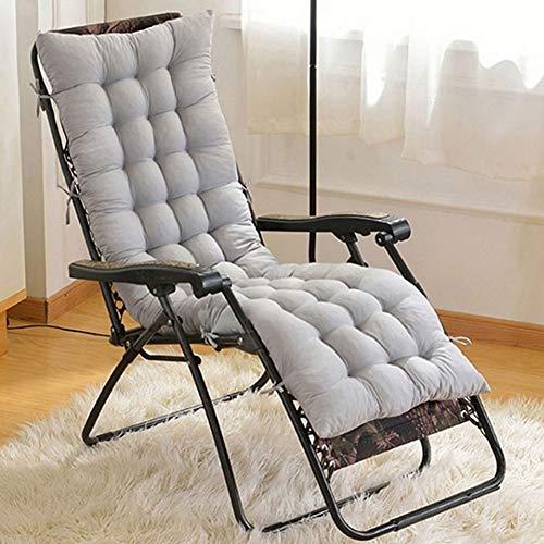 HOKOKO Sitzkissen für Sonnenliege, klassisches Design, für Garten, Terrasse, Liegestuhl, dicke Stuhlauflage für Reisen, Urlaub, Garten, Innen- und Außenbereich, 155 x 48 x 8 cm (grau, ohne Stuhl)