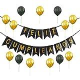 Set Decoración Feliz Cumpleaños [28 Piezas] - Guirnalda para Cumpleaños Aniversario Globos Dorado y Negro - Fiesta Adultos y Niños