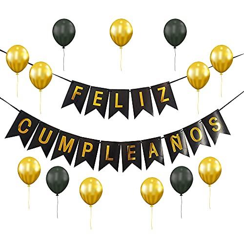 Set Decoración Feliz Cumpleaños [22 Piezas] - Guirnalda para Cumpleaños Aniversario Globos Dorado y Negro - Fiesta Adultos y Niños