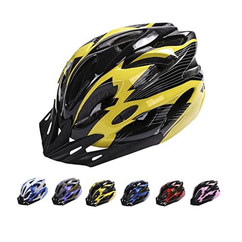 Casco de Bicicleta, Casco de Bicicleta de Montaña Casco de Bicicleta para Adultos Ajustable con Visera Extraíble para Bicicleta MTB City Specialized Casco de Bicicleta para Hombres y Mujeres Amarillo