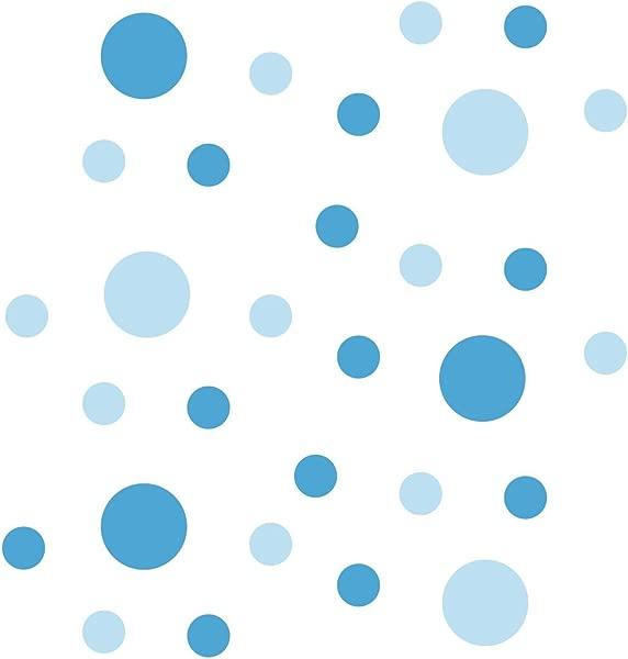 一套 30 圈波尔卡圆点乙烯基墙图形贴花贴纸婴儿蓝色冰蓝色