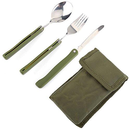 Outdoor RVS inklapbare vork mes lepel Utility bestek voor camping picknick reis