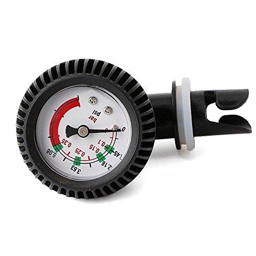 Matedepreso medidor de presión de Aire 0-5.08 PSI barómetro para Kayak Inflable, Prueba de presión de Aire, válvula Sup, Tabla de Surf de Remo (Negro), Negro