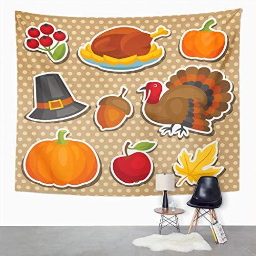 Y·JIANG Tapiz festival, Feliz Acción de Gracias, vacaciones, bellota americana, decoración de dormitorio grande, manta para colgar en la pared para sala de estar, dormitorio, 80 x 60 pulgadas
