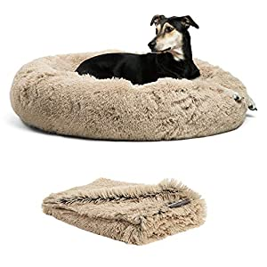Best Friends by Sheri Bundle Savings – The Original Calming Shag Donut Cuddler Dog Bed in Large 36″ x 36″ and Pet Throw Blanket in 40″ x 50″, Taupe