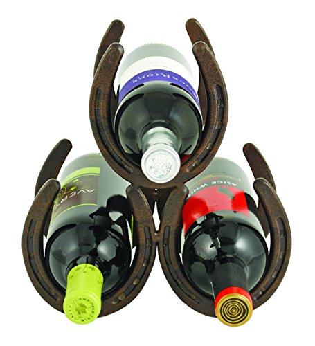 "Horseshoe Countertop 3 Metal Rack and Wine Bottle Holder, Cast Iron, 8"", Rust"