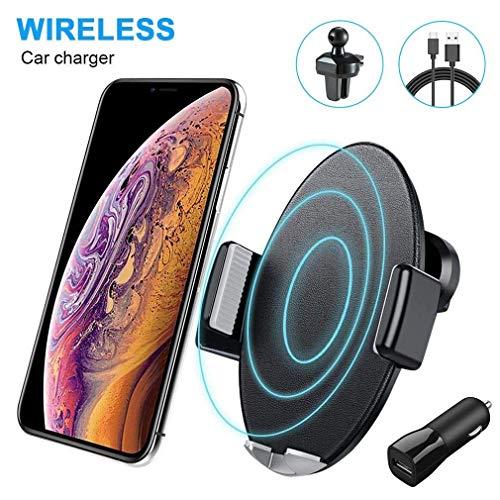 Caricatore Wireless Auto,10W Qi Ricarica Rapida Wireless Auto Vento(con QC3.0 Adapter) per Huawei Mate 20 Pro, Samsung Galaxy S9/S9+/Note 9/S8/S8+/S7, 7.5W Car Wireless Charger per iPhone 8 sopra