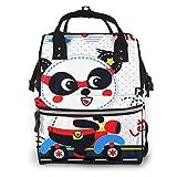 Mochila de Pañales para Cambiar Pañales Bebé Panda Héroe de Dibujos Animados, Gran Capacidad Bolsa de Momias a Prueba de Agua Elegante para Mamá Papá Viajar Con Un Bebé
