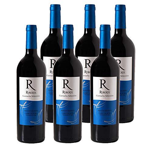 Ruberte Vino Tinto Selección 2017 - Variedad Garnacha - D.O. Campo de Borja - 15% - 6 botellas x 750ml