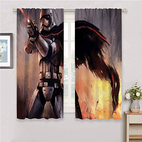 Zmcongz Cortinas opacas premium Star Wars The Force Awakens W54 x L39 pulgadas para sala de estar o dormitorio, barra de bolsillo curtian