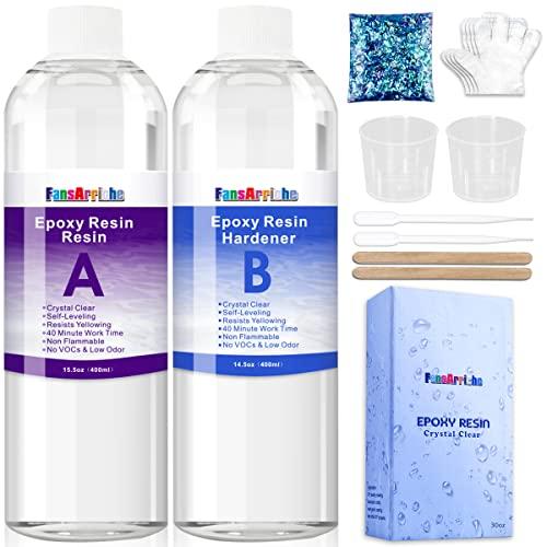 Resina Epoxi Ultra Transparente 850g / 800ml, para Fundición y Revestimiento - Proporción 1: 1 de Resina 2 Componentes para Tableros de Mesa, Madera, Artesanía, creación de joyas