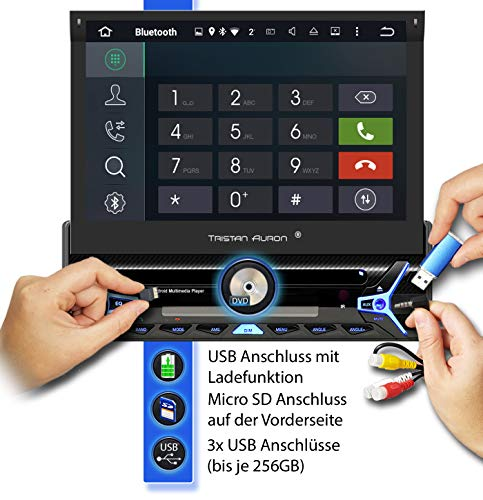 Tristan Auron BT1D7027A Android 10 Autoradio + DAB Plus und OBD 2 Box I 32GB ROM I 7 Touchscreen I GPS Navi I Bluetooth Freisprecheinrichtung USB SD I 1 DIN