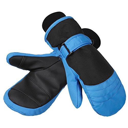 Terra Hiker Guantes de Ski para Niños, Resistentes al Agua y al Viento, Tela Ripstop Transpirable (5-9 años, Azul)