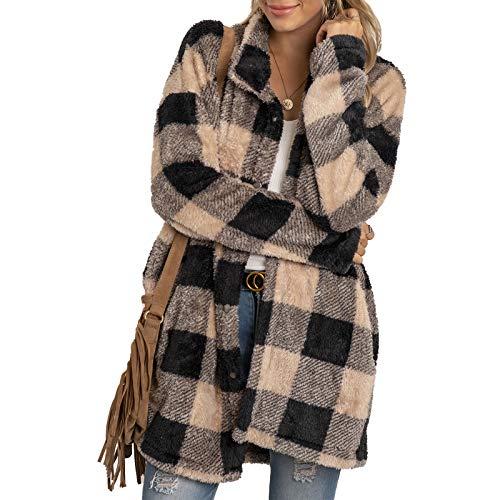 Abrigo de longitud media con estampado a cuadros para mujer, chaqueta de manga larga con cuello de solapa para otoño, ropa cálida de invierno, caqui, M