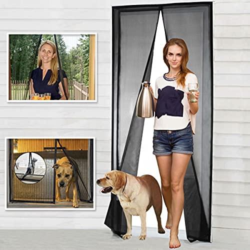 Magnetic Screen Door Fiberglass Mesh Screen Door with Magnets, Screen for Sliding Glass Door French Door Patio Door, Full Frame Hook & Loop, Hands Free, Pet Friendly (34'x82')