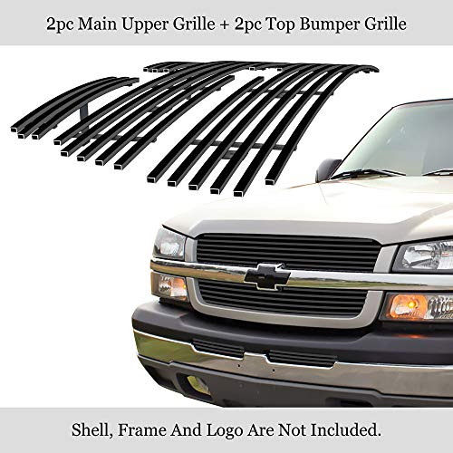 APS Compatible with Chevy Silverado 1500 2003-2005 & 03-04 2500 3500 & 02-06 Avalanche Stainless Steel Black 8x6 Horizontal Billet Grille Insert Combo C67675J