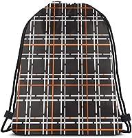 オレンジブラックグリッドドローストリングバックパックジムサックシンチバッグストリングバッグ-3