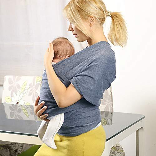 SaponinTree Fular Portabebés Elástico Gris Portador de Bebé, Pañuelo de 100% de Algodón, Porteo Seguro y Ergonómico Durante la Lactancia, Para Padres Unisex (Gris oscuro)