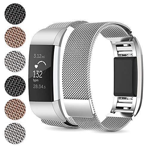 Alinsea Fitbit Charge 3 Armband, Metall Armband, Premium Edelstahl Sport Mit Metall einzigartiger Magnet Schnalle Lock Uhrband für Fitbit Charge3 Armbänder (L, Silber)