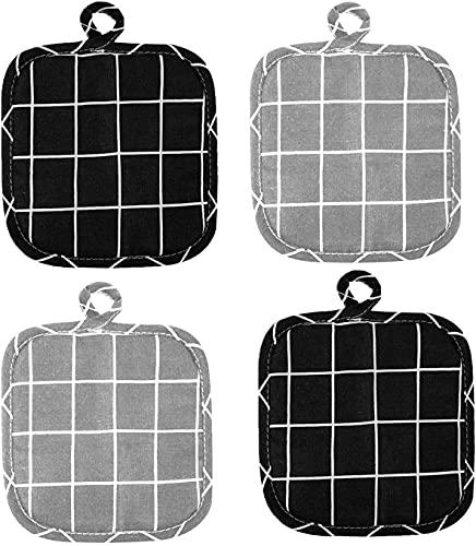 4 presine, 100% cotone, set di presine, presine, guanto di protezione lavabile, per cucina, cucina, forno, barbecue, accessori da cucina (18 x 18 cm) – A