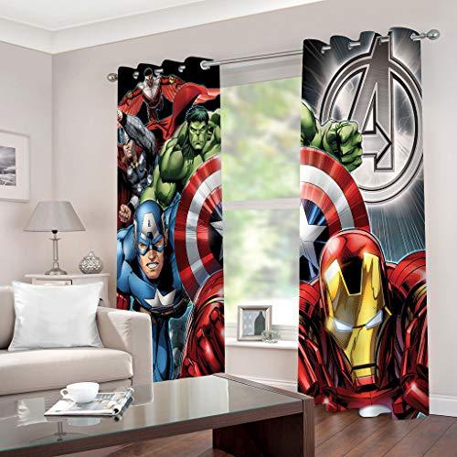 Vorhänge Digital Druck Marvel Heroes Bild Polyester Weiche Vorhänge Top Ösen Behandlungen Blackout Fenstervorhang für Wohnzimmer Schlafzimmer 150X166CM