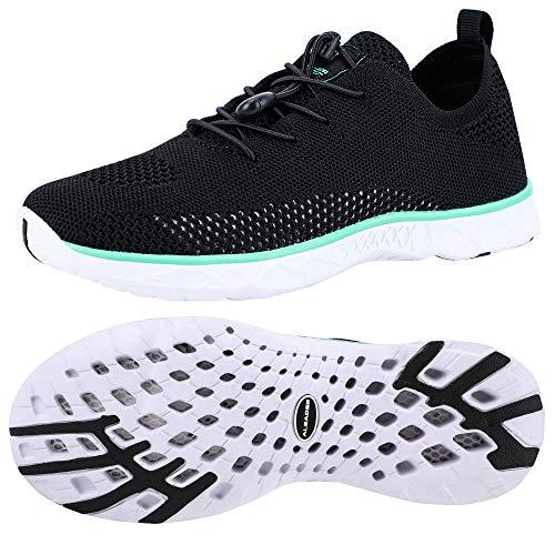 ALEADER Womens Water Shoes, Xdrain Venture Knit, Travel Sneakers Black/Green 8.5 D(M) US