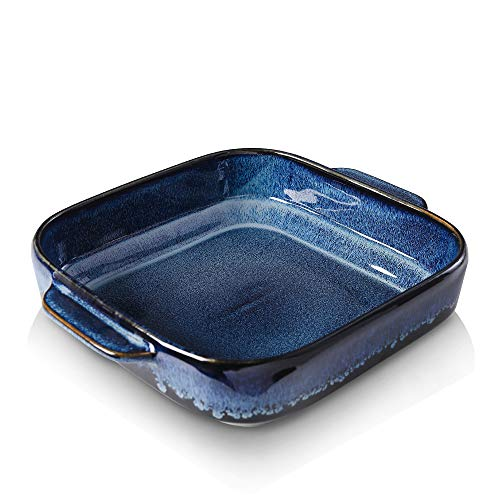 KOOV Ceramic Bakeware, 8x8 Baking Dish, Square Baking Pan, Ceramic Baking Dish, Brownie Pans for Cake Dinner, Kitchen, Reactive Glaze (Nebula Blue)