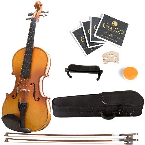 Mendini MV400 Ebony Fitted Solid Wood Violin