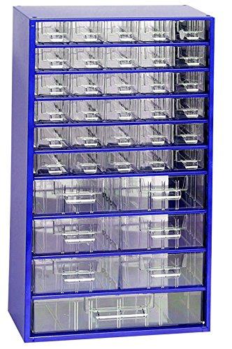 Kleinteilemagazin METALL 551x306x155 mm blau RAL 5002. 30+6+1 Schubladen Werkstattqualität