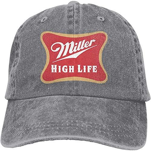 tonghanxas Miller High Life Unisex Vintage Adult Adjustable Baseball Cap Denim Dad Hat-Gray-