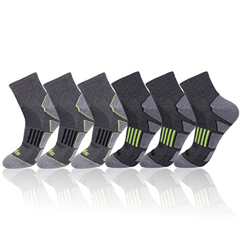 JOYNÉE Men's 6 Pack Athletic Performance Cushion Ankle Running Quarter Socks,Grey 1,Sock Size:10-13