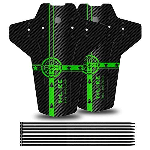 "YOLOKE Parafango MTB,Compatibile Anteriore o Posteriore Parafanghi Bici MTB 26"", 27,5"", 29"" paraspruzzi Mountain Bike (Verde)"
