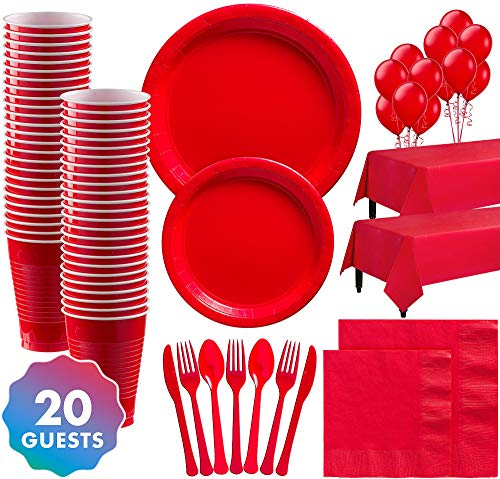 Great Price! Party City Solid Red Party Supplies for 20 Guests, Include Plates, Napkins, Utensils, C...