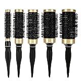Set di 5 spazzole tonde per capelli, strumento professionale con impugnatura in gomma naturale, per donne e uomini, rivestimento ad anello in ceramica