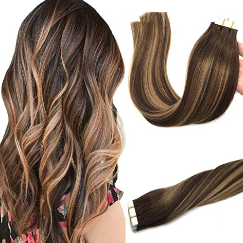 GOO GOO 20pcs 50g Tape in Hair Extensions Ombre Chocolate Brown to Caramel Blonde Remy Human Hair Extensions Balayage Seamless Straight Real Hair Extensions Tape in Natural Hair 18 Inch