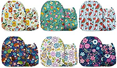 Mama Koala Unisex Baby Washable Cloth Diapers, One Size Reusable Pocket Diaper, 6 Pack with 6 One Size Microfiber Inserts (Secret Garden)