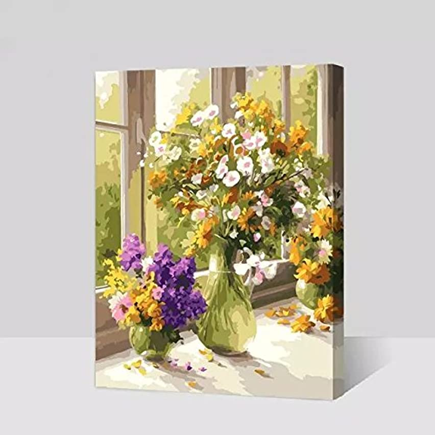 [WOODEN FRAMED] Diy Oil Painting Paint by Number Kits for Adult Kids - Flowers Bloom in a Vase (17) 16x20 Inch