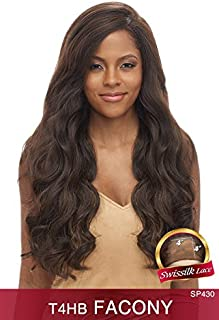 T4HB FACONY (PURBLACK) - Vanessa Brazilian Human Hair Blend Deep Part Silk Base Lace Front Wig