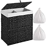 Greenstell Laundry Hamper with 2 Removable Liner Bags, Divided Clothes Hamper, 110L Handwoven Synthetic Rattan Laundry Basket with Lid and Handles, Foldable and Easy to Install Black (22x12x24 Inches)