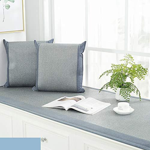 YEARLY Anti-rutsch Erker-Kissen, Sommer Sitzpolster Cool Schlanke Schlafzimmer Balkon Tatami Decke Fensterbank Matte Sitzpolster-blau 70x140cm(28x55inch)