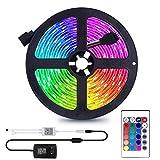 Sunnest Ruban LED 3528 RGB Etanche 5M Strip Light Multicolore 300 LED Télécommande Infrarouge 24 Touches + Adapteur + Alimentation 2A 12V