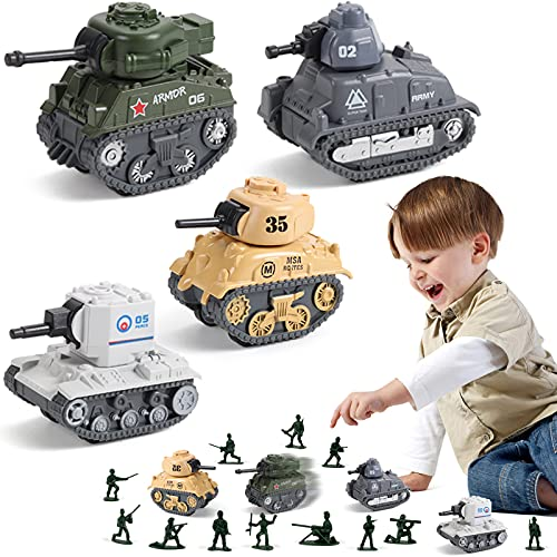 Pull Back Army Tank Toys for Boys, 8 Military Toy Tanks and 3 Soldier Army Men Toy, Metal Diecast Military Vehicles Toys Army Men Tank Pull Back Truck Car Play Set for Kids Toddlers
