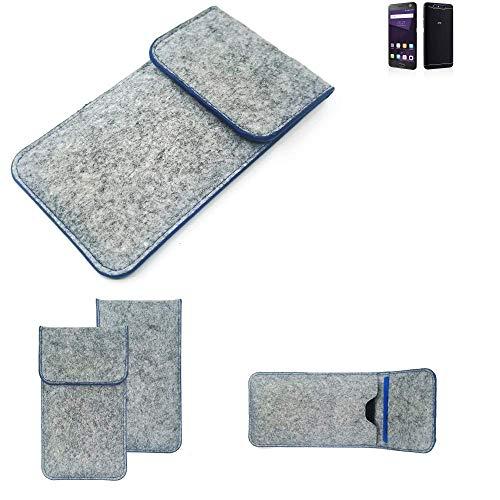 K-S-Trade Filz Schutz Hülle Für ZTE Blade V8 64 GB Schutzhülle Filztasche Pouch Tasche Hülle Sleeve Handyhülle Filzhülle Hellgrau, Blauer Rand
