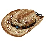 LIOOBO Cappello da Cowboy Donne degli Uomini Occidentali Cowboy Cowgirl Cappello di Paglia per La Spiaggia di Campeggio di Viaggio del Cappello di Estate della Boemia Beige