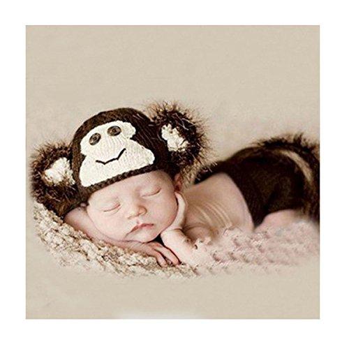 DAYAN weiche handgemachte Häkelarbeit-Knit Baby-Fotografie Props Cute Baby Monkey Outfits, Affen-Kostüm Baby (0-6 Monate)