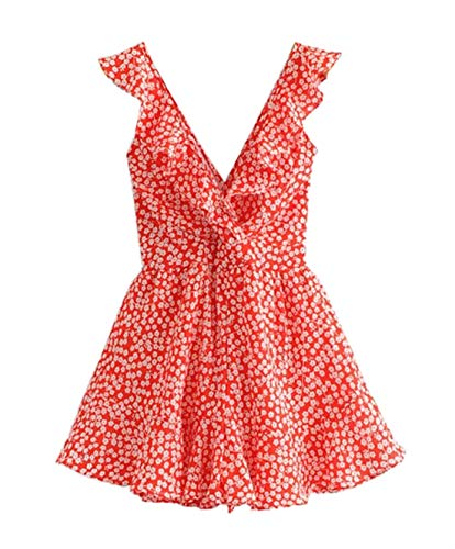SheIn Women's Boho Crochet V Neck Halter Backless Floral Lace Romper Jumpsuit Medium Red Polka